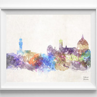 Florence Skyline, Italy Watercolor, Poster, Tuscany Print, Bedroom, Art, Cityscape, City Painting, Living, Illustration, Europe [NO 441]