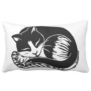 Sleeping Tuxedo Cat Black and White Lumbar Pillow