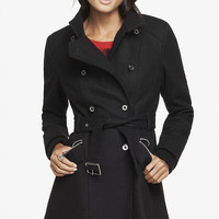 WOOL BLEND FIT AND FLARE COAT from EXPRESS
