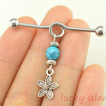 turquoise earring,turquoise industrial barbell,gypsy industrial barbell,friendship ear piercing,flower earring,bff gift