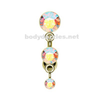 Golden Triple Crystalline Reverse Belly Button Ring Navel Ring 14ga Surgical Steel