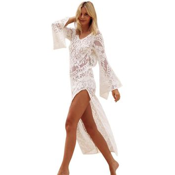 Lace V Neck Long Flare Sleeve Long Dress Women Hole Hollow Out High Split Maxi Dress Beach Sundress White Bodycon Dresses #23
