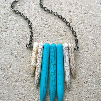 spike tribal necklace white and turquoise blue howlite