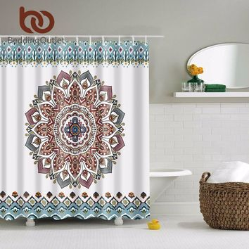 "BeddingOutlet Mandala Bohemian Waterproof Shower Curtain Hippie Boho Decorations Geometric Decor  Polyester Bathroom Set 71""x71"""