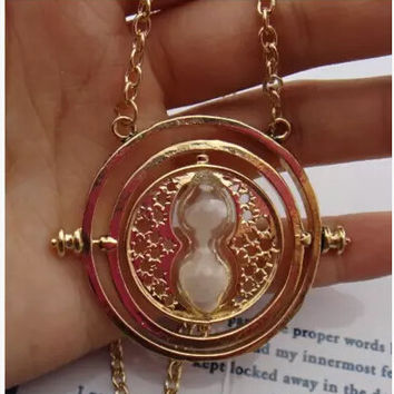 Harry potter golden color white sand necklaces  time turner charm harry potter charm necklaces gift