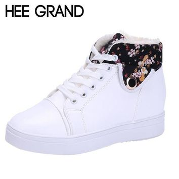 HEE GRAND Women Casual Shoes Winter Warm Shoes Women Lace-up Snow Boots PU Leather Fla