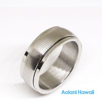 Stainless Steel Wedding Ring (8mm width, Barrel style)