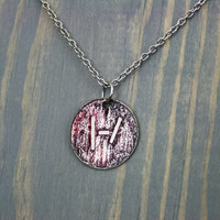 Twenty One Pilots Inspired - Handmade Etched Silver and Stainless Steel Necklace - Blurryface