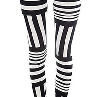 Black and White stripes Zebra Print Geometric Aztec Tribal Leggings