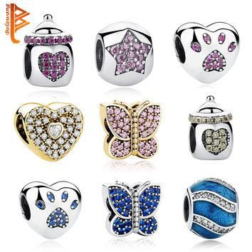 Authentic 925 Sterling Silver Jewelry Crystal Pet Paw Print Beads Feeding Bottle Charm