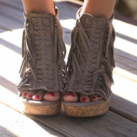 NOT RATED Hunny Buns Fringe Taupe Wedges