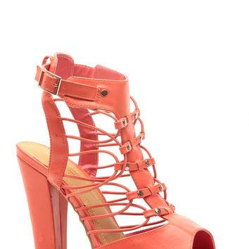 Orange Faux Leather Caged Open Toe Booties
