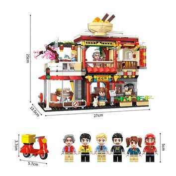 Fit Legoness Colorful City Series China Restaurant Big Head Minifigs Mini figures Building Blocks Toys for Children Xmas Gifts