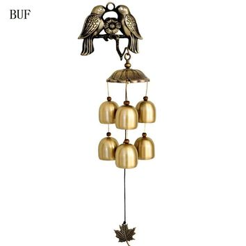 BUF Copper Bird Wind Chimes Antique House Decoration Copper Bells Windchimes Luxurious Retro Wall Hanging Decoration Gift