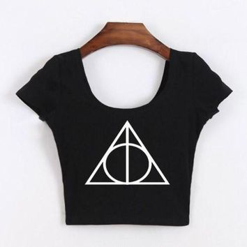 ac ICIK83Q Short Sleeve Sexy Harry Potter Crop Top Tops T-shirts [10510757516]