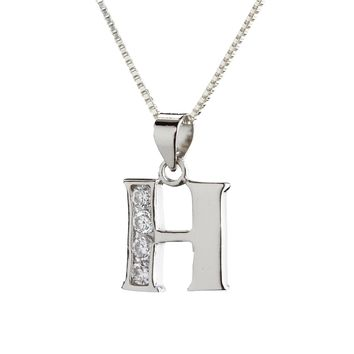 "Children's Sterling Silver Initial Letter H Necklace for Girls on 14"" Chain"