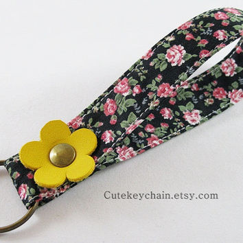 Fabric Key Chain, Fabric Wristlet Key Fob, Fabric Keyring, Keychain Wristlet With Yellow Leather Flower