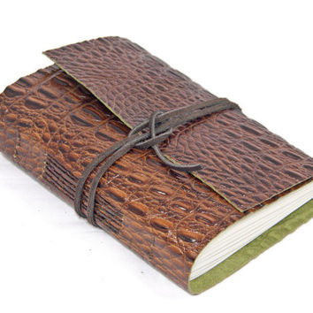 Brown Alligator Embossed Leather Journal - Leather Journal - Blank Paper Journal - Travel Journal - Art Journal - Vacation Journal -