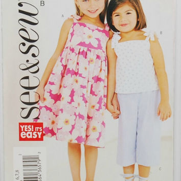 Butterick 3889, See & Sew, Yes! It's Easy (c. 2003) Child's Size 6-8, Girl's Sundress, Top, Pants, Summer Clothes, Easy Sewing, Girl Clothes