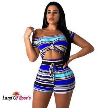 Plus Size 2 Matching Sets Striped Short Sleeve Crop Top+Bandage Shorts