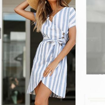 Women's Striped A-line Lace Up Ruffled Dress V-neck Sashes Short Sleeve Mini Dresses Spring Summer Casual Clothes Female