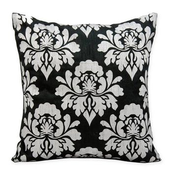 Michael Amini Damask Square Throw Pillow in Black/Silver