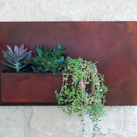 """Succulent Hanging Planter with Rustic Patina - 20""""x12"""" Modern Metal Wall Planter, Wall Decor,  Outdoor Metal Wall Art (Free Shipping)"""