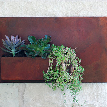 "Succulent Hanging Planter with Rustic Patina - 20""x12"" Modern Metal Wall Planter, Wall Decor,  Outdoor Metal Wall Art (Free Shipping)"