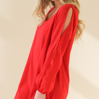 Evening Glam Flowy Dress - Red