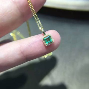 natural green emerald pendant S925 Sterling silver Natural gemstone Pendant Necklace trendy Small square women girl  jewelry