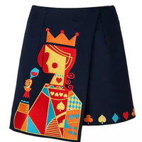 Navy Poker King Embroidery Wrap Front Asymmetric Skirt