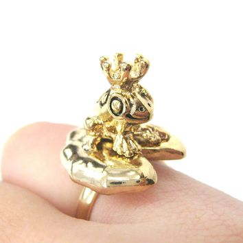 Frog Prince Toad on A Lily Pad Animal Themed Adjustable Ring in Shiny Gold