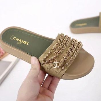 Chanel shoes, new 17 Spring Chain slippers, silk and satin sandals H-TFDXY-XNEDX-1