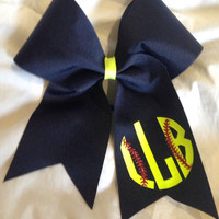 Monogrammed softball bow in your team color!