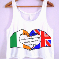 "One Direction ""Truly, Madly, Deeply"" Hand Art Crop-Top"