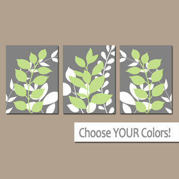 Gray Lime Wall Art, Bedroom Pictures, Leaves CANVAS or Prints Leaf Bathroom Artwork, Foliage Pictures, Flower Art, Set of 3 Home Decor