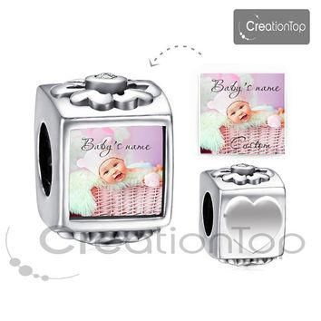 Personalized charm for any Pandora bracelet Memory charm Baby's name custom It's a gir