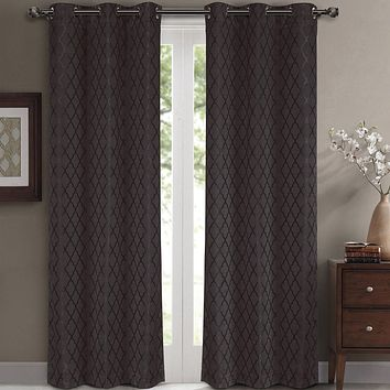 Charcoal 84x63 Willow Blackout Window Panels (Set of 2 )