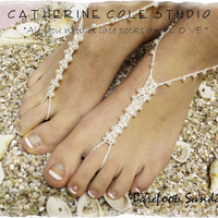 PEARL Barefoot sandals handmade 100% cotton great for beach wedding summer slave sandals foot jewelry resort wear Catherine Cole