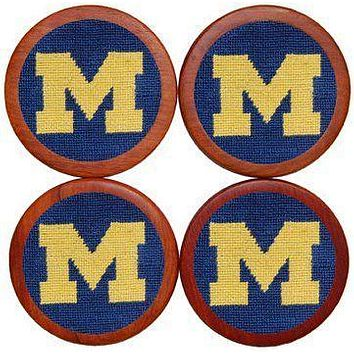 University of Michigan Needlepoint Coasters in Blue by Smathers & Branson