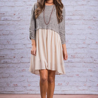Flowing Fun Dress, Gray-Ivory
