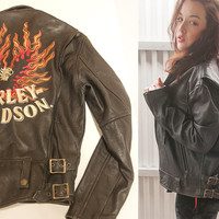 RARE 1950s Harley Davidson Leather Jacket S M | Vintage Embroidered Biker Moto Collector Antique Genuine Leather Black Motorcycle Jacket 60s
