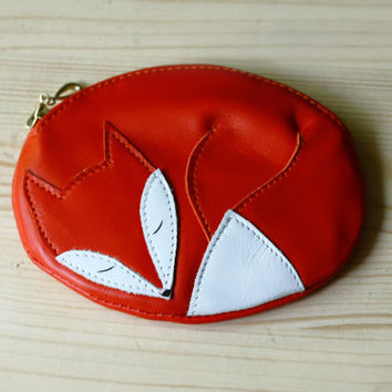 Sleeping Fox Leather Pouch