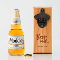 Cedar Wood Wall Mount Bottle Opener - Beer Me Etching (Pack of 1)