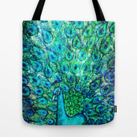Peacock Painting  Tote Bag by EllipsisArts