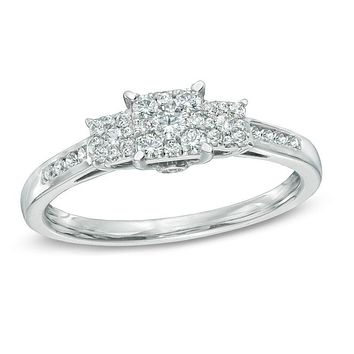 1/3 CT. T.W. Diamond Square Composite Three Stone Engagement Ring in 14K White Gold