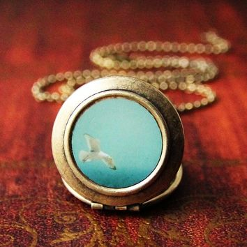 Photo Locket-Bird Blue - Flying Seagull over the Ocean Art Locket Necklace - Collaboration with Irene Suchocki