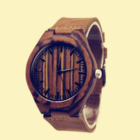 YAN & LEI Bamboo Watch with Leather Belt Dark Wooden Look