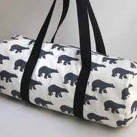 Travel bag - Carryall bag - 100% cotton - Bears pattern