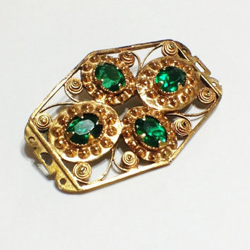 ON SALE Antique Georgian or Victorian Brooch, Silver, Vermeil, Paste Emerald Stones,